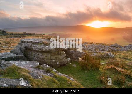 Sunset from Belstone Tor Dartmoor National Park Devon Uk - Stock Image