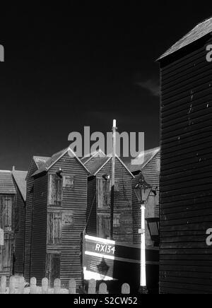Fishermans huts , Hastings - Stock Image