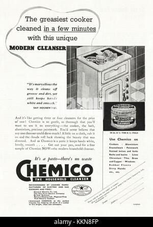 1939 UK Magazine Chemico Cleanser Advert - Stock Image