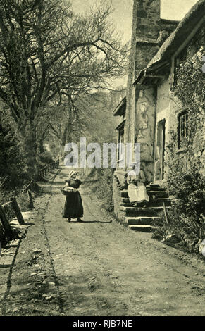 Quiet scene in the village of Luccombe, Somerset, not far from Exmoor. - Stock Image