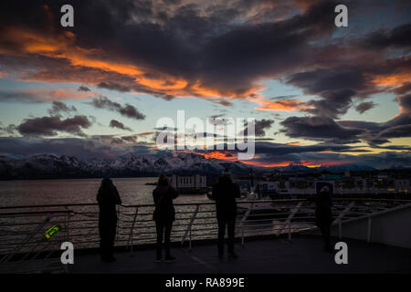 Photographers shooting the sunset on board the Hurtigruten coastal steamer, MS Polarlys, Norway. - Stock Image
