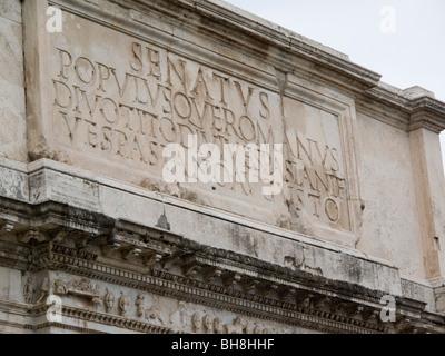 SPQR Senatus Populusque Romanus inscription on triumphal arch in Rome Lazio Italy - Stock Image