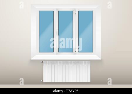 Example of Window and Heating radiator in room. Modern Central heating system equipment. Water and steam model for wall. Vector Illustration - Stock Image
