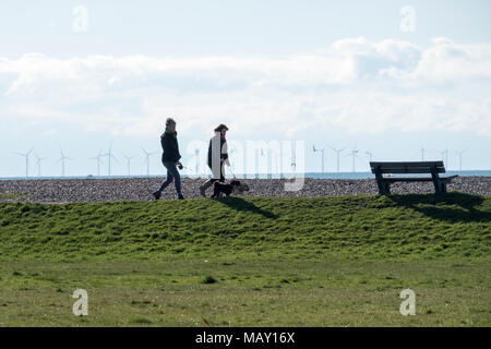 Goring By Sea West Sussex, 5th April 2018. UK Weather, A bright and clear start to the day makes it a perfect spring day to be out and about. Credit: Photovision Images News/Alamy Live News - Stock Image
