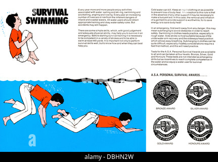 ASA Amateur Swimming Association Safety Advice, published by Bovril probably 1960s Survival Swimming - Stock Image