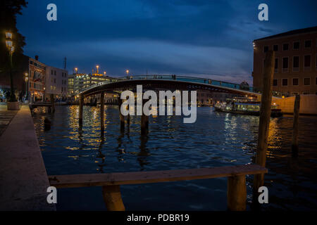 Ponte Della Costituzione Bridge in Venice at evening - Stock Image