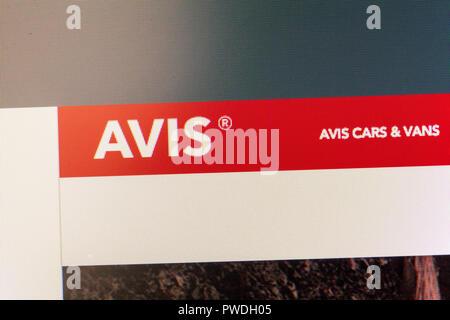 Avis car hire website, Avis car hire, Avis, online car hire, Avis website, Avis logo, Avis homepage, Avis home page, Avis rental, Avis, website, - Stock Image