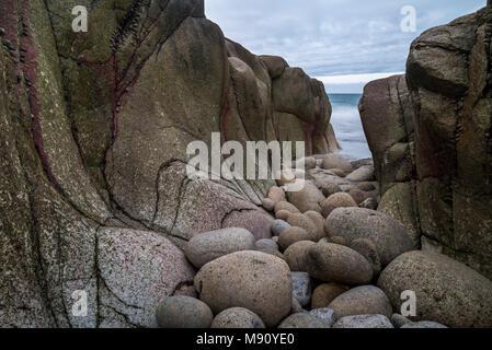 Granite cove on the Cornish coast, St Just, Cornwall, England. Autumn (November) 2017. - Stock Image