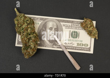 Joint on benjamin franklin dollar bill with green marijuana bud as dirty money concept isolated on black background - Stock Image
