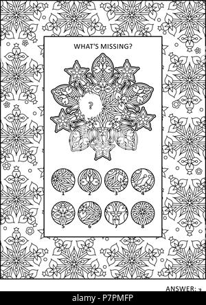 Puzzle and coloring activity page for grown-ups with visual logic puzzle and wide decorative frame to color. Family friendly. Answer included. - Stock Image