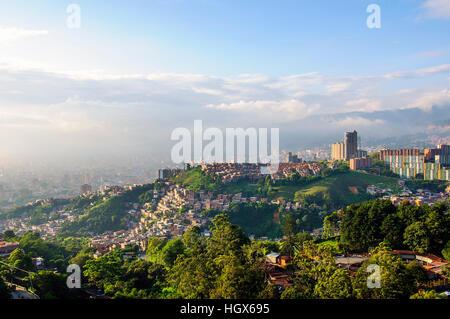 Sun setting over Medellin city in Colombia - Stock Image