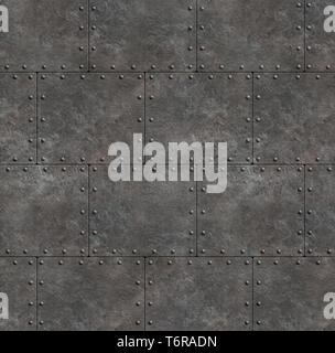 rustic armor shields with rivets as metal background - Stock Image