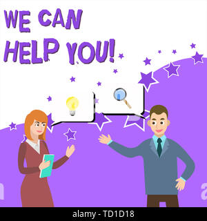Word writing text We Can Help You. Business photo showcasing offering good assistance to customers or friends Business Partners Colleagues Jointly See - Stock Image