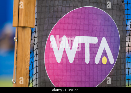 The WTA logo on a tennis net at the Aegon International tournament in Eastbourne - Stock Image
