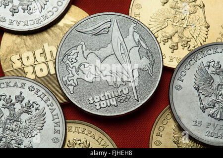 Coins of Russia. Route of the Sochi 2014 Winter Olympics torch relay depicted in the Russian commemorative 25 ruble - Stock Image