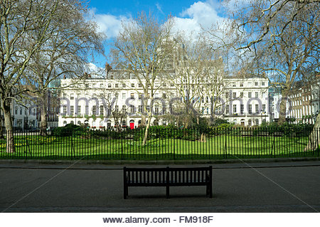 Winter scene of the Georgian square of Fitzroy Square in the Fitzrovia area of central London, UK. - Stock Image