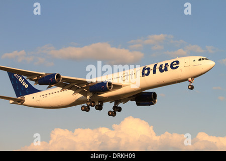 Airblue Airbus A340 to land - Stock Image