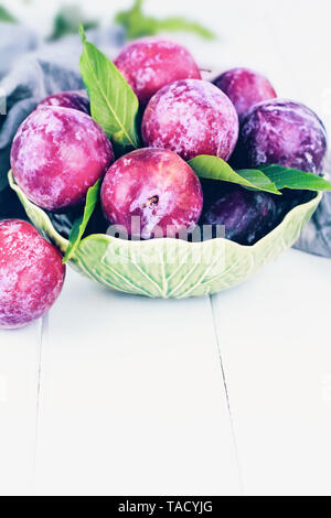Freshly picked homegrown organic plums from the tree with leaves in a bowl. - Stock Image