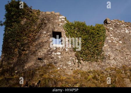 Ruined castle wall at Mugdock Castle, nr Milngavie Scotland - Stock Image