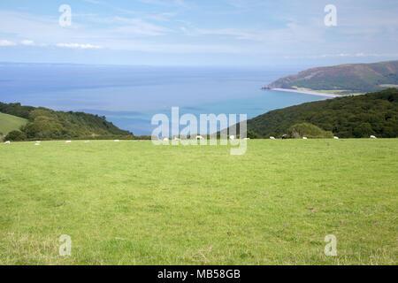 View over Bossington Bay in summer Exmoor Somerset - Stock Image