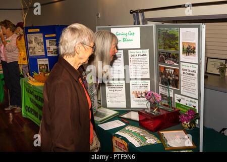 England, Berkshire, Goring on Thames, High Street, Village Hall, community organisation fair, Goring Gap in Bloom stall - Stock Image