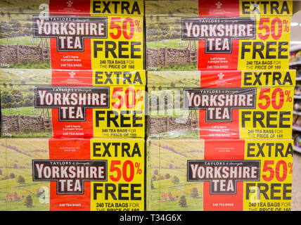 Taylors of Harrogate Yorkshire Tea bags packaging on a supermarket shelf in the UK - Stock Image