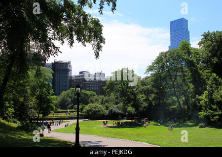 East facing view towards Conservatory Garden in Northern Central Park, Manhattan on JULY 4th, 2017 in New York, USA. - Stock Image