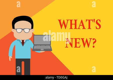 Handwriting text What S New Question. Conceptual photo Asking about latest Updates Trends Happening News Standing man in suit wearing eyeglasses holdi - Stock Image