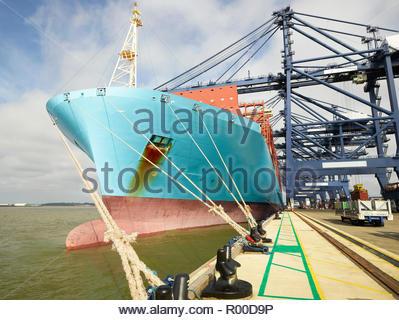 Cargo ship at Port of Felixstowe, England - Stock Image