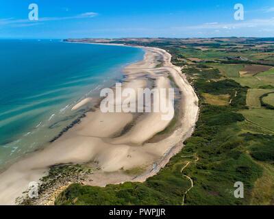 France, Hauts de France, Pas de Calais, aerial pic. Wissant bay - Stock Image