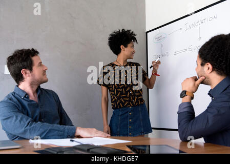 Teacher explaining topic to students - Stock Image
