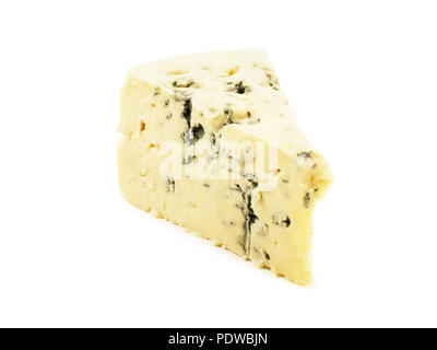 Soft blue cheese with mold isolated on white background - Stock Image