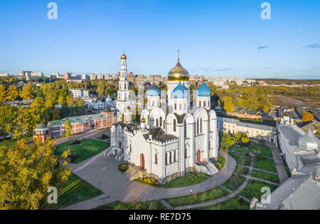 Aerial view of Transfiguration Cathedral in Ugresha Monastery, Dzerzhinsky, Moscow oblast, Russia - Stock Image