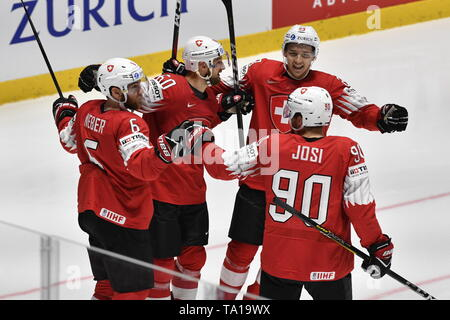 L-R Yannick Weber, Tristan Scherwey, Philipp Kurashev and Roman Josi (all SUI) celebrate Scherwey's goal during the match between Czech Republic and Switzerland within the 2019 IIHF World Championship in Bratislava, Slovakia, on May 21, 2019. (CTK Photo/Vit Simanek) - Stock Image
