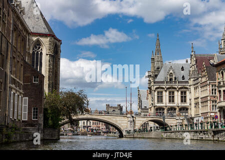 The historical buildings and a bridge over Lys river in Ghent, Belgium. - Stock Image