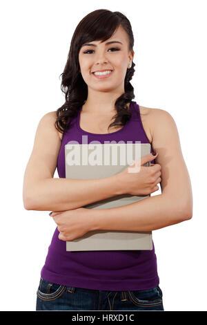 Stock image of female college student isolated on white background - Stock Image