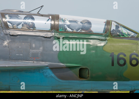 Croatian Air Force MiG-21 UMD '166' trainer cockpit area detail - Stock Image