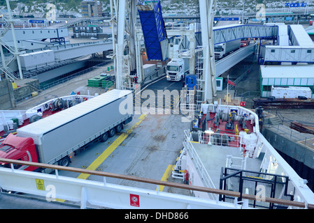 Dover ferry loading - Stock Image