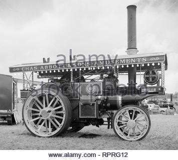 A 1909 Burrell 7nhp Showman's Road Locomotive at a steam rally at Seale, Surrey, UK – it spent a large part of  its working life owned by showman Chas Abbotts and Son, Norwich – 1970s (1978) - Stock Image