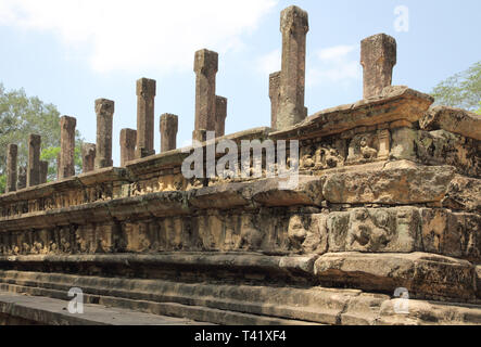 the royal palace quadrangle at polonnarawa archaeology site in the cultural triangle of sri lanka - Stock Image
