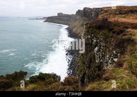 Towering sea-cliffs viewed from Mealt Falls and Kilt Rock Viewpoint on east coast of Isle of Skye, Highland Region, Scotland, UK - Stock Image