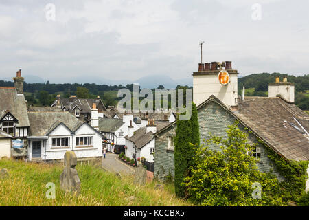 The village of Hawkshead in Cumbria. The village is a popular destination for visitors to the Lake District bhz - Stock Image