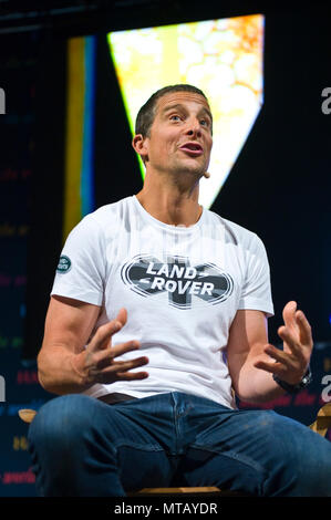 Bear Grylls speaking on stage in the Tata Tent at Hay Festival 2018 Hay-on-Wye Powys Wales UK - Stock Image