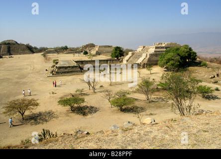 Monte Alban from the North Platform, Buildings K in the Foreground and South Platform and Buildings L and M in the - Stock Image