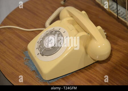 1960s era telephone in the Connected Earth Exhibition at the Milton Keynes Museum, Wolverton and Greenleys, in Milton Keynes, Buckinghamshire, UK - Stock Image