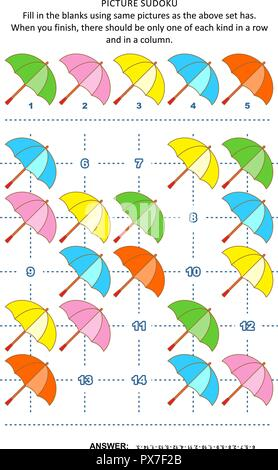 Picture sudoku puzzle 5x5 (one block) with colorful umbrellas. Answer included. - Stock Image