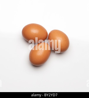 3 brown eggs - Stock Image