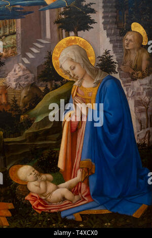 Adoration of the Christ Child with St. Joseph, St. Jerome, St. Hilarion, St. Mary Magdalen and Angels, detail, Filippp Lippi, circa 1455, Galleria deg - Stock Image