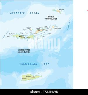 united states and british virgin islands vector map - Stock Image