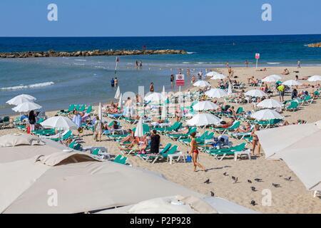 Israel, Tel Aviv, beach, parasols, deckchairs, bathing - Stock Image